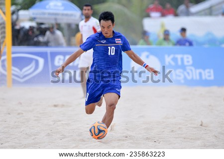 PHUKET THAILAND-NOV19:Komkrit Nanan of Thailand in action during the Beach Soccer match between Iran and Thailand the 2014 Asian Beach Games at Saphan Hin on November19,2014 in Thailand