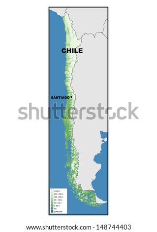 Political Map Chile Stock Illustration Shutterstock - Chile physical map