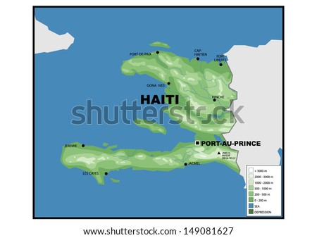 Physical Map South Korea Stock Illustration Shutterstock - Physical map of haiti