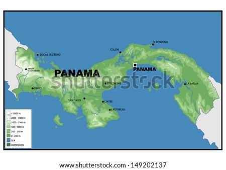Physical Map Panama Stock Illustration Shutterstock - Physical map of panama