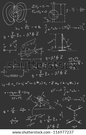 Physics diagrams and formulas chalk handwriting on blackboard