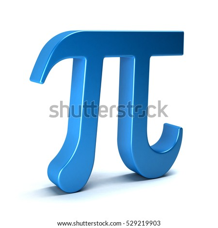 Pi Number Mathematical Symbol on White Background. 3D Rendering Illustration