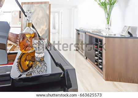 living room wine furniture black piano mirror beside living room stock photo 665508898