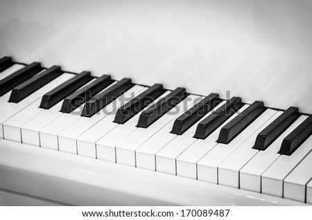 Piano Keyboard , Black and white style picture