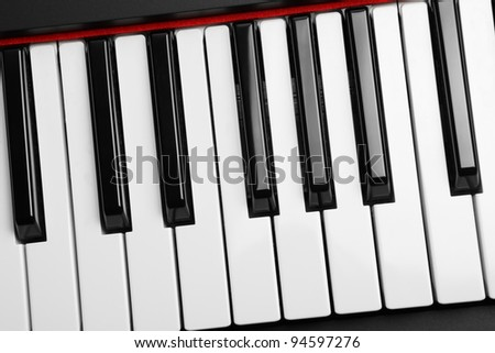 Piano keyboard. Very shallow depth of field.