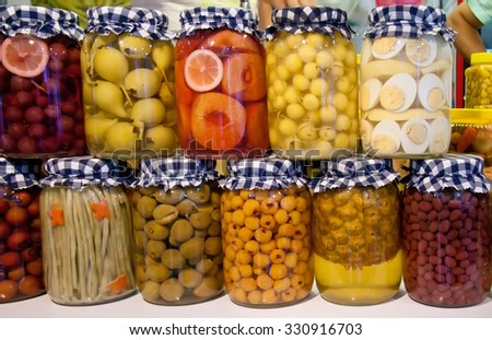 Pickled Pear, Grape, Peach, Cherry, String Bean, Almond, Hawthorn, Pineapple, Hot Pepper, Cranberry, And Eggs In Jars