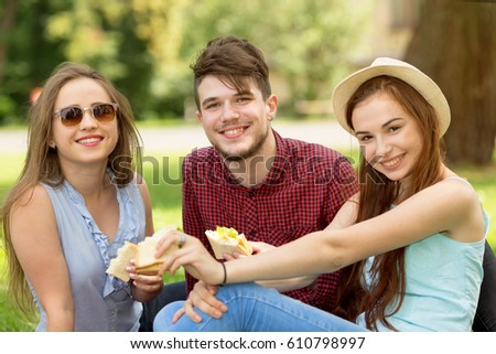 Young two girls one guy