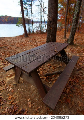 Picnic table along the shores of Badin Lake North Carolina