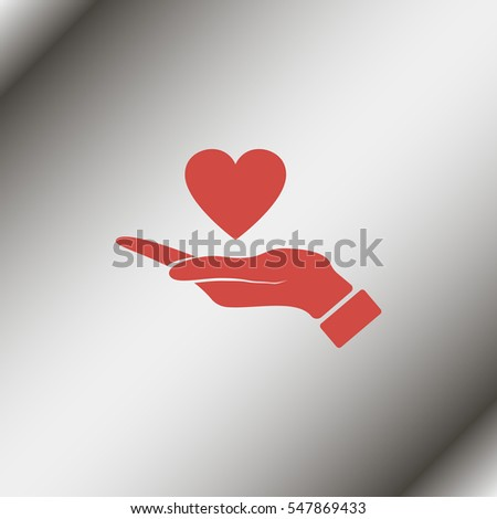 Pictograph of heart in hand.