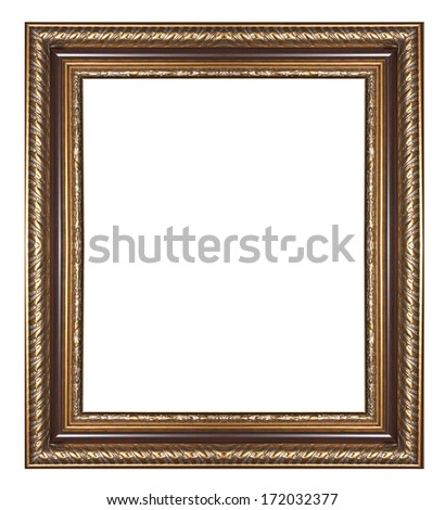 Picture frame gold  wood frame in white background.