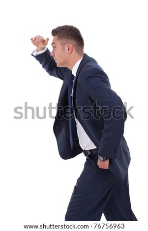 picture of a businessman looking forward to the future over white