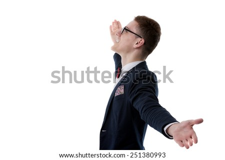 picture of a young business man welcoming everybody with his arms wide opened and with a large smile on his face, on white background