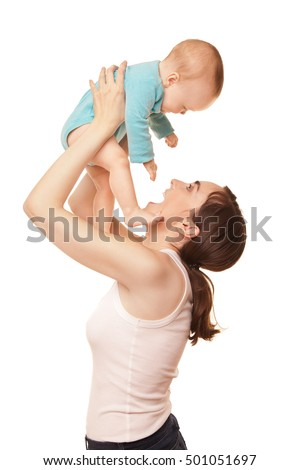 Picture of happy mother holding adorable baby isolated on white