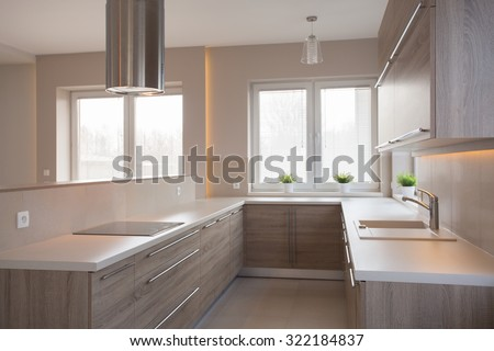 Picture of new style commodious kitchen in light colors