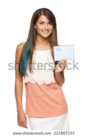 picture of smiling woman holding white blank card