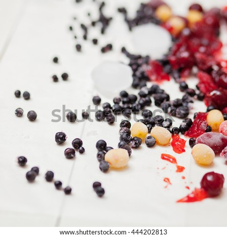 Picture of various frozen berries on a white background
