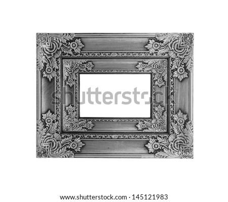 Picture silver frame with a decorative pattern on white background