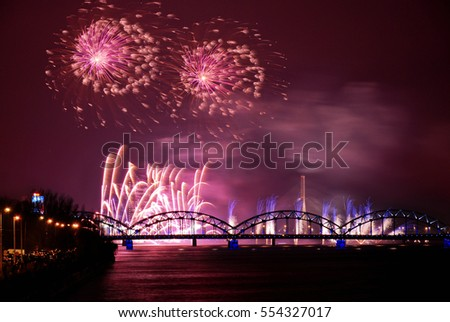 Picturesque fireworks over Riga, Latvia, 2016