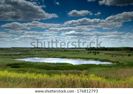 Picturesque landscape with a lake