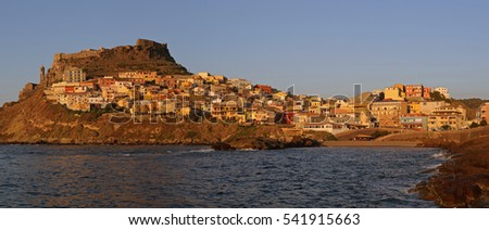 Picturesque medieval city of Castelsardo perched high above the sea on gulf of Asinara in north Sardinia.