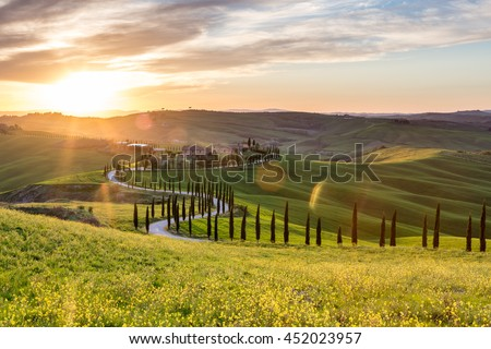 Picturesque sunset in Tuscany, Italy