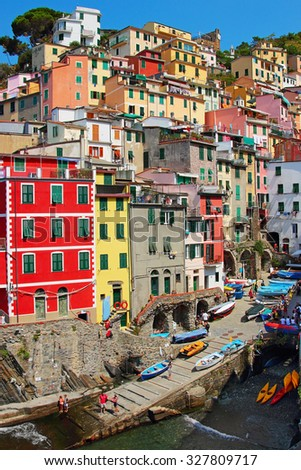 Picturesque town of Riomaggiore in Cinque Terre National park, Luguria region, Italy.