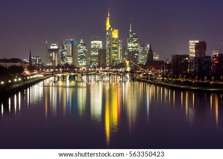 view on frankfurt skyline night reflection stock photo 77607166 shutterstock. Black Bedroom Furniture Sets. Home Design Ideas