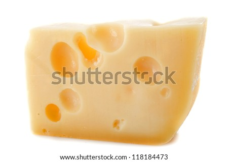 Piece of cheese gruyere in front of white background