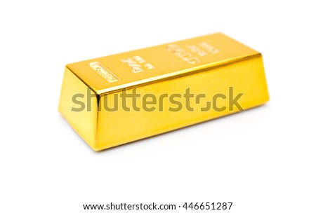 piece of gold bar on a white background