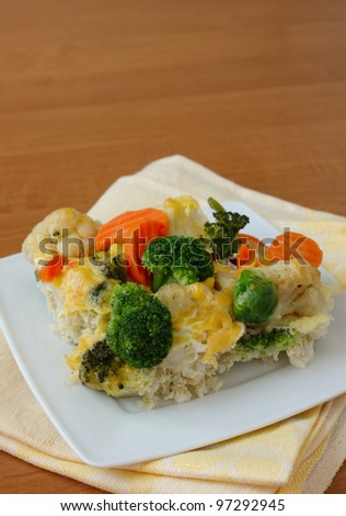 piece of vegetable casserole over plate