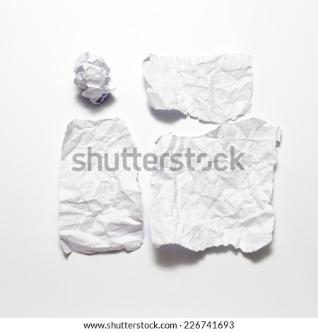 piece of white crumpled paper on a white background