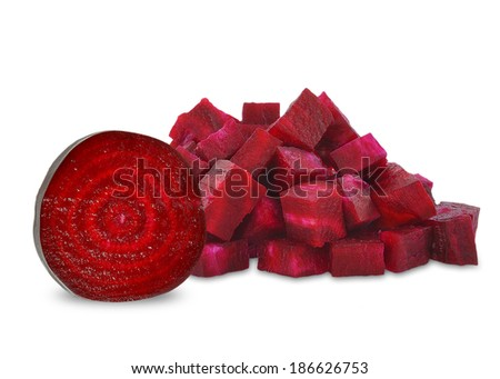 pieces of beetroot on a white background