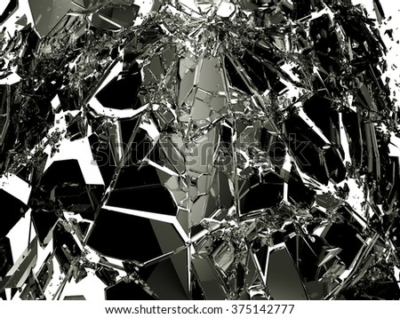 Pieces of Broken Shattered black glass isolated on white. Large resolution