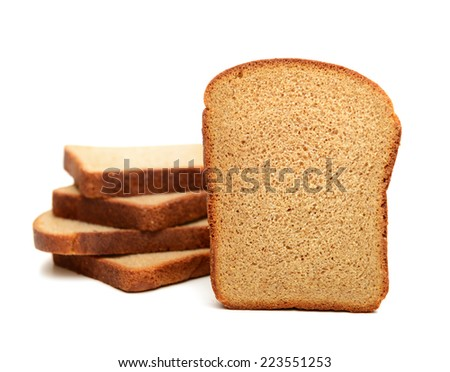 pieces of sliced ??rye bread on a white background