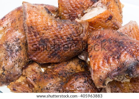 pieces of the roasted goose