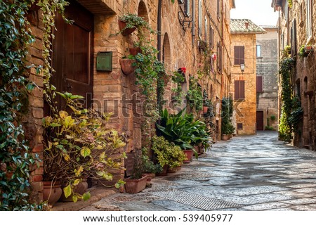 Pienza, Italy - November 21, 2016: Old town and the streets of the medieval period, Pienza, Italy on 21 of November, 2016. Pienza is the touchstone of Renaissance urbanism,  UNESCO World Heritage Site