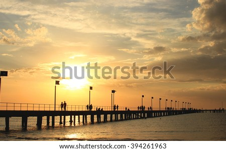 Pier, sunset, clouds and silhouettes, Frankston, Victoria, Australia