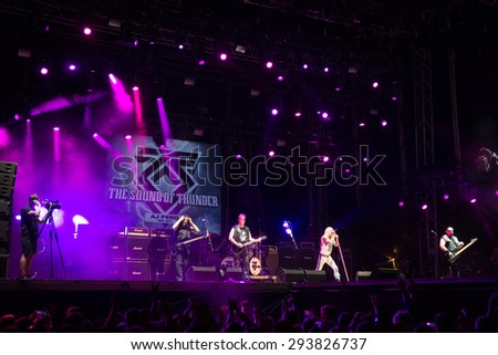 PIESTANY, SLOVAKIA - JUNE 27: American heavy metal band Twisted Sister performs on music festival Topfest in Piestany, Slovakia on June 27, 2015