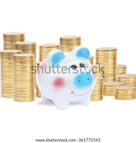Piggy Bank and Coins.