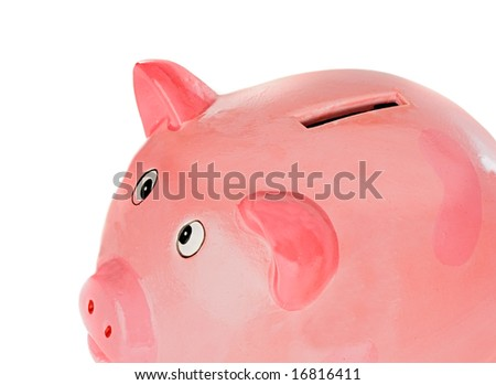 piggy bank pink a over white background