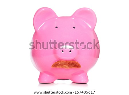 Piggy bank wearing ginger moustache cutout