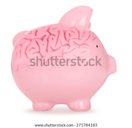 Piggy Bank with brain on White Background