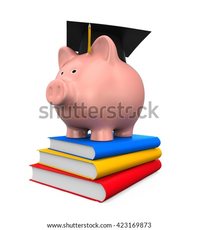 Piggy Bank with Graduation Cap and Books. 3D rendering