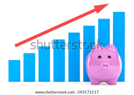 Piggy Bank with Red Graphic on a white background