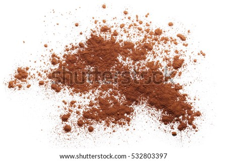 pile cocoa powder isolated on white background