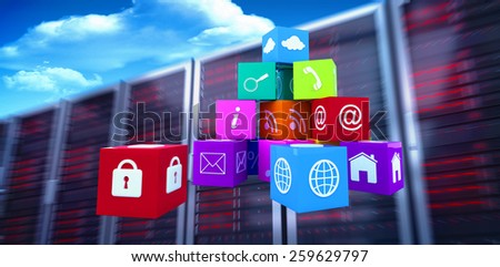 Pile of apps against bright blue sky with clouds