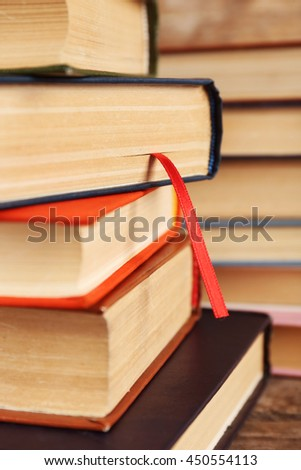 Pile of books, close-up