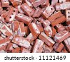 Pile of bricks from a torn down building.  Film scan of 35mm slide. - stock photo