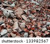 pile of broken bricks - stock photo