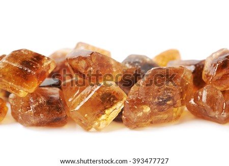 Pile of brown rock sugar crystals